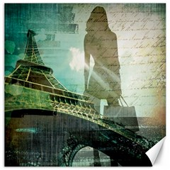 Modern Shopaholic Girl  Paris Eiffel Tower Art  Canvas 16  X 16  (unframed) by chicelegantboutique