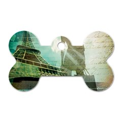 Modern Shopaholic Girl  Paris Eiffel Tower Art  Dog Tag Bone (two Sided) by chicelegantboutique