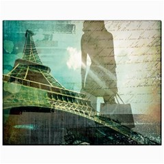 Modern Shopaholic Girl  Paris Eiffel Tower Art  Canvas 11  X 14  (unframed) by chicelegantboutique