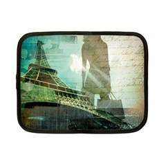 Modern Shopaholic Girl  Paris Eiffel Tower Art  Netbook Case (small) by chicelegantboutique