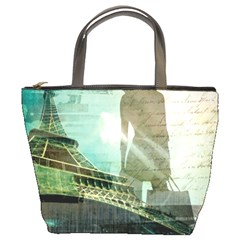 Modern Shopaholic Girl  Paris Eiffel Tower Art  Bucket Bag by chicelegantboutique