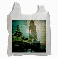 Modern Shopaholic Girl  Paris Eiffel Tower Art  Recycle Bag (two Sides) by chicelegantboutique