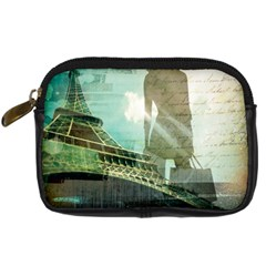 Modern Shopaholic Girl  Paris Eiffel Tower Art  Digital Camera Leather Case by chicelegantboutique