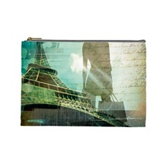 Modern Shopaholic Girl  Paris Eiffel Tower Art  Cosmetic Bag (large) by chicelegantboutique
