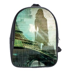 Modern Shopaholic Girl  Paris Eiffel Tower Art  School Bag (large) by chicelegantboutique