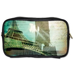Modern Shopaholic Girl  Paris Eiffel Tower Art  Travel Toiletry Bag (two Sides) by chicelegantboutique