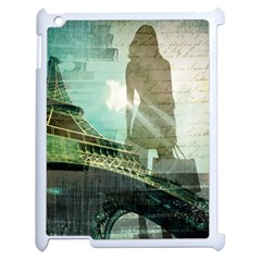 Modern Shopaholic Girl  Paris Eiffel Tower Art  Apple Ipad 2 Case (white) by chicelegantboutique