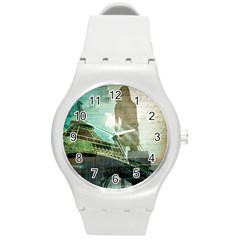 Modern Shopaholic Girl  Paris Eiffel Tower Art  Plastic Sport Watch (medium) by chicelegantboutique