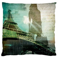 Modern Shopaholic Girl  Paris Eiffel Tower Art  Large Cushion Case (two Sided)  by chicelegantboutique