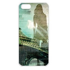 Modern Shopaholic Girl  Paris Eiffel Tower Art  Apple Iphone 5 Seamless Case (white) by chicelegantboutique