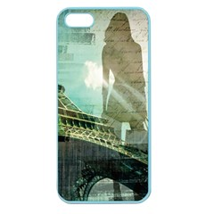 Modern Shopaholic Girl  Paris Eiffel Tower Art  Apple Seamless Iphone 5 Case (color) by chicelegantboutique
