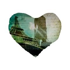 Modern Shopaholic Girl  Paris Eiffel Tower Art  16  Premium Heart Shape Cushion