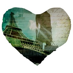 Modern Shopaholic Girl  Paris Eiffel Tower Art  19  Premium Heart Shape Cushion by chicelegantboutique