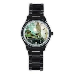Modern Shopaholic Girl  Paris Eiffel Tower Art  Sport Metal Watch (black) by chicelegantboutique