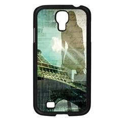 Modern Shopaholic Girl  Paris Eiffel Tower Art  Samsung Galaxy S4 I9500/ I9505 (black) by chicelegantboutique