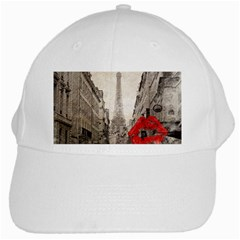Elegant Red Kiss Love Paris Eiffel Tower White Baseball Cap by chicelegantboutique