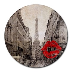 Elegant Red Kiss Love Paris Eiffel Tower 8  Mouse Pad (round)