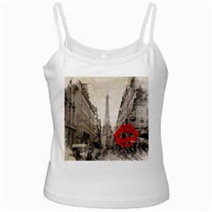 Elegant Red Kiss Love Paris Eiffel Tower White Spaghetti Tank by chicelegantboutique