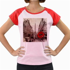 Elegant Red Kiss Love Paris Eiffel Tower Women s Cap Sleeve T Shirt (colored) by chicelegantboutique