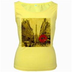 Elegant Red Kiss Love Paris Eiffel Tower Womens  Tank Top (yellow) by chicelegantboutique