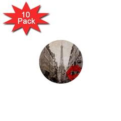 Elegant Red Kiss Love Paris Eiffel Tower 1  Mini Button (10 Pack) by chicelegantboutique