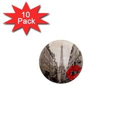 Elegant Red Kiss Love Paris Eiffel Tower 1  Mini Button Magnet (10 Pack) by chicelegantboutique