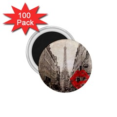 Elegant Red Kiss Love Paris Eiffel Tower 1 75  Button Magnet (100 Pack) by chicelegantboutique