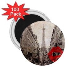 Elegant Red Kiss Love Paris Eiffel Tower 2 25  Button Magnet (100 Pack) by chicelegantboutique