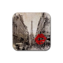 Elegant Red Kiss Love Paris Eiffel Tower Drink Coasters 4 Pack (square) by chicelegantboutique