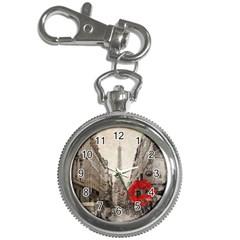 Elegant Red Kiss Love Paris Eiffel Tower Key Chain & Watch