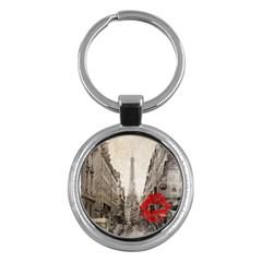 Elegant Red Kiss Love Paris Eiffel Tower Key Chain (round) by chicelegantboutique