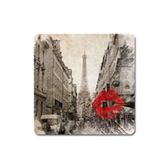 Elegant Red Kiss Love Paris Eiffel Tower Magnet (square) by chicelegantboutique