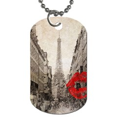 Elegant Red Kiss Love Paris Eiffel Tower Dog Tag (two Sided)  by chicelegantboutique