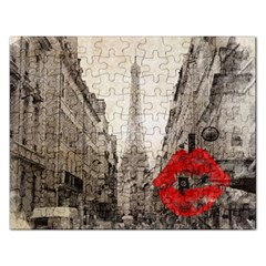 Elegant Red Kiss Love Paris Eiffel Tower Jigsaw Puzzle (rectangle) by chicelegantboutique