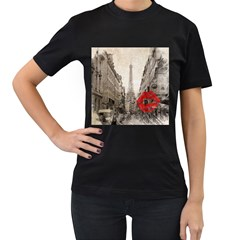 Elegant Red Kiss Love Paris Eiffel Tower Womens' Two Sided T Shirt (black) by chicelegantboutique