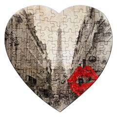 Elegant Red Kiss Love Paris Eiffel Tower Jigsaw Puzzle (heart)