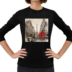 Elegant Red Kiss Love Paris Eiffel Tower Womens' Long Sleeve T Shirt (dark Colored) by chicelegantboutique
