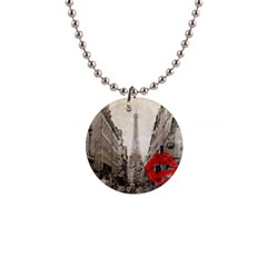 Elegant Red Kiss Love Paris Eiffel Tower Button Necklace by chicelegantboutique