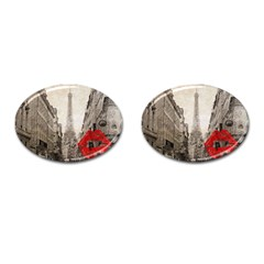 Elegant Red Kiss Love Paris Eiffel Tower Cufflinks (oval) by chicelegantboutique