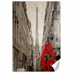 Elegant Red Kiss Love Paris Eiffel Tower Canvas 12  x 18  (Unframed) by chicelegantboutique
