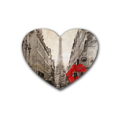 Elegant Red Kiss Love Paris Eiffel Tower Drink Coasters (heart) by chicelegantboutique