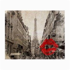 Elegant Red Kiss Love Paris Eiffel Tower Glasses Cloth (small, Two Sided) by chicelegantboutique