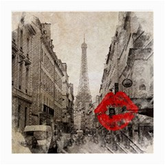 Elegant Red Kiss Love Paris Eiffel Tower Glasses Cloth (medium, Two Sided) by chicelegantboutique
