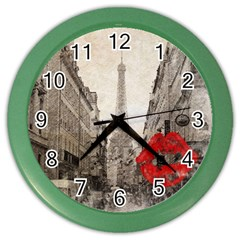 Elegant Red Kiss Love Paris Eiffel Tower Wall Clock (color)