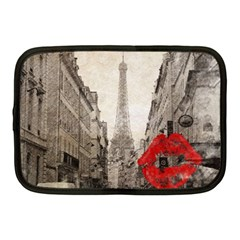 Elegant Red Kiss Love Paris Eiffel Tower Netbook Case (medium) by chicelegantboutique