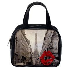 Elegant Red Kiss Love Paris Eiffel Tower Classic Handbag (one Side) by chicelegantboutique