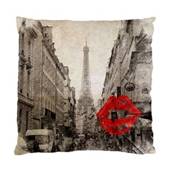 Elegant Red Kiss Love Paris Eiffel Tower Cushion Case (single Sided)  by chicelegantboutique