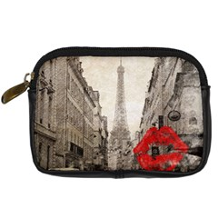 Elegant Red Kiss Love Paris Eiffel Tower Digital Camera Leather Case by chicelegantboutique
