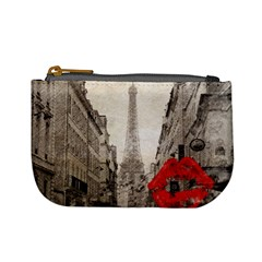 Elegant Red Kiss Love Paris Eiffel Tower Coin Change Purse by chicelegantboutique