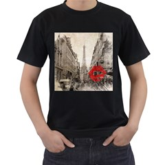 Elegant Red Kiss Love Paris Eiffel Tower Mens' T Shirt (black) by chicelegantboutique